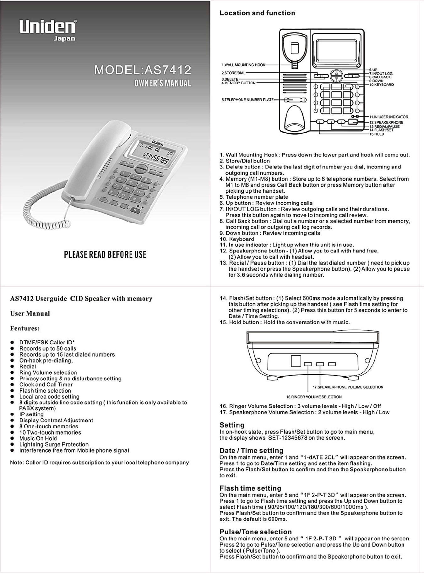 โทรศัพท์สายเดียว Single Line ยี่ห้อ Uniden รุ่น AS7412